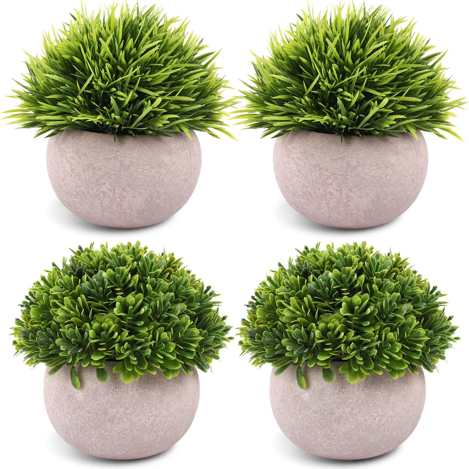 CEWOR 4 Packs Artificial Mini Potted Plants Plastic Faux Topiary Shrubs Fake Plants for Bathroom Home Office Desk Decorations -