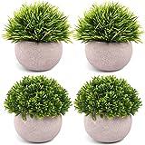 CEWOR 4 paquetes de plantas artificiales de plástico sintético para decoración de escritorio