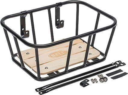 Bell Tote 900 Front Handlebar Metal Basket with Wood Base black