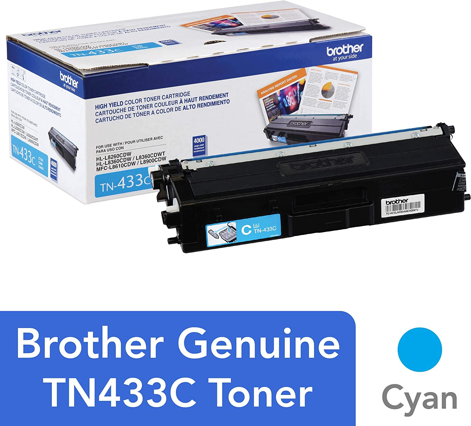Brother Genuine High Yield Toner Cartridge, TN433C, Replacement Cyan Toner, Page Yield Up To 4,000 Pages, Amazon Dash Replenishment Cartridge, TN433