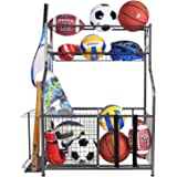 Mythinglogic Garage Storage System, Garage Organizer with Baskets and Hooks, Sports Equipment Organizer for Kids, Ball…