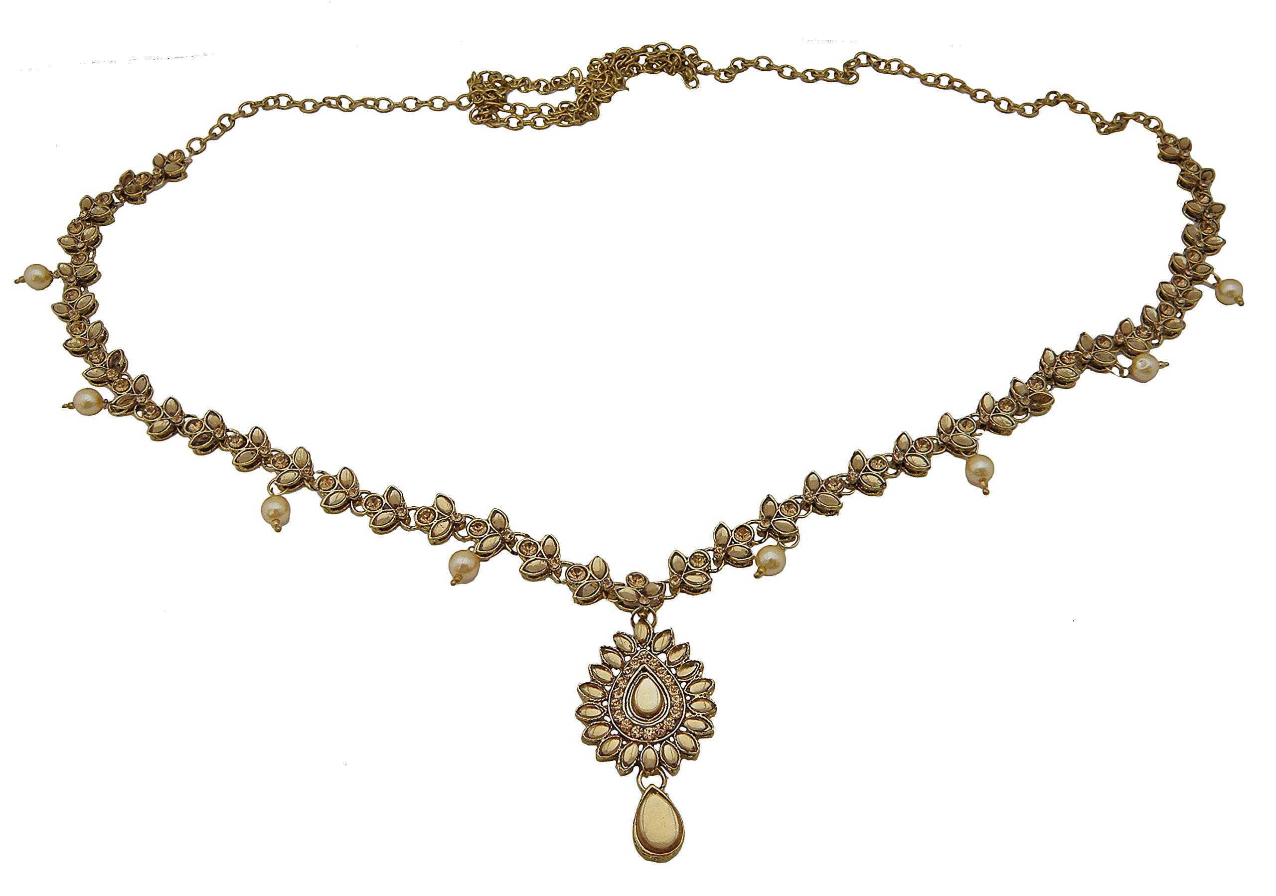 Jwellmart Women's Ethnic Collection Stone Saree Waist Belt Kamarbandh Golden (Brown) by Jwellmart
