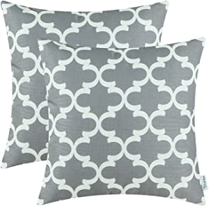 CaliTime Pack of 2 Soft Canvas Throw Pillow Covers Cases for Couch Sofa Home Decor Modern Quatrefoil Accent Geometric 18 X 18 Inches Grey