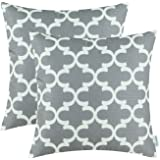 Pack of 2 CaliTime Throw Pillow Covers Cases for Couch Sofa Home Decor, Modern Quatrefoil Accent Geometric, 18 X 18 Inches, Grey
