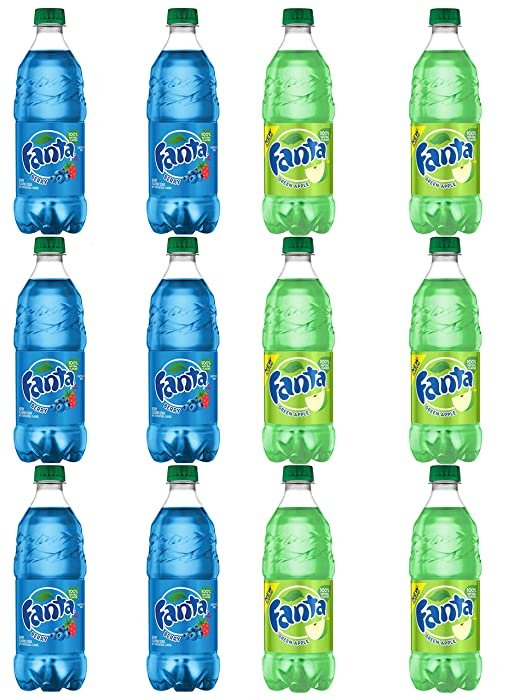 LUV BOX - Variety Fanta pack 20oz Bottles pack of 12 Berry , Green Apple
