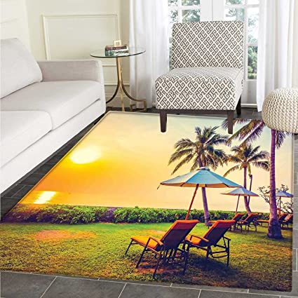 5f2bc705a Seaside Floor Mat Pattern Empty Umbrella and Chairs on The Beach Palm Trees  at Twilight Times