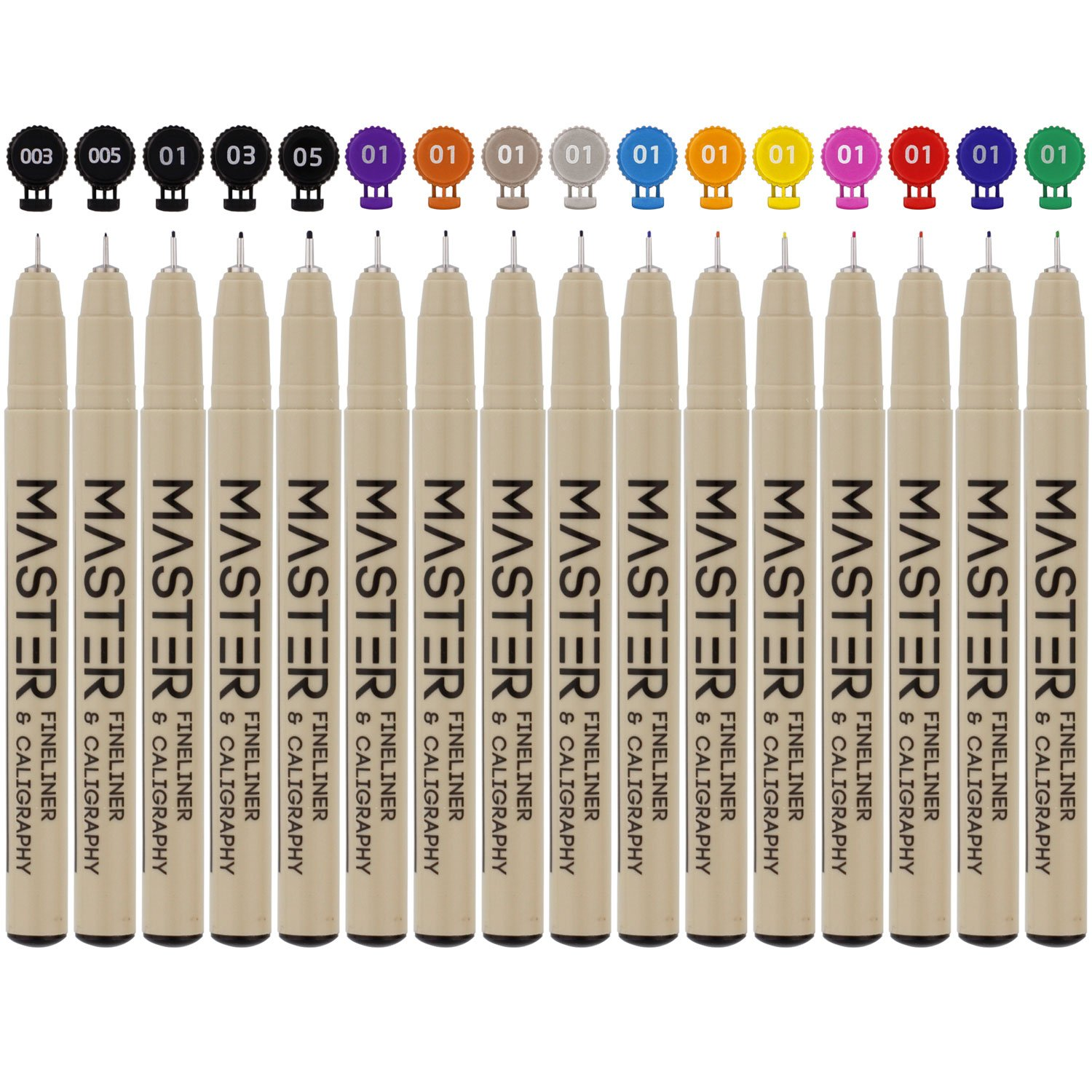 Set of 32 Unique Black and Colored Master Markers Micro-Pen Fineliner Ink Pens - 11 Vibrant Colors & 21 Black Micro Fine Point, Chisel, Brush & Calligraphy Tip Nibs - Artist Illustration Drawing by Mastermarkers (Image #5)