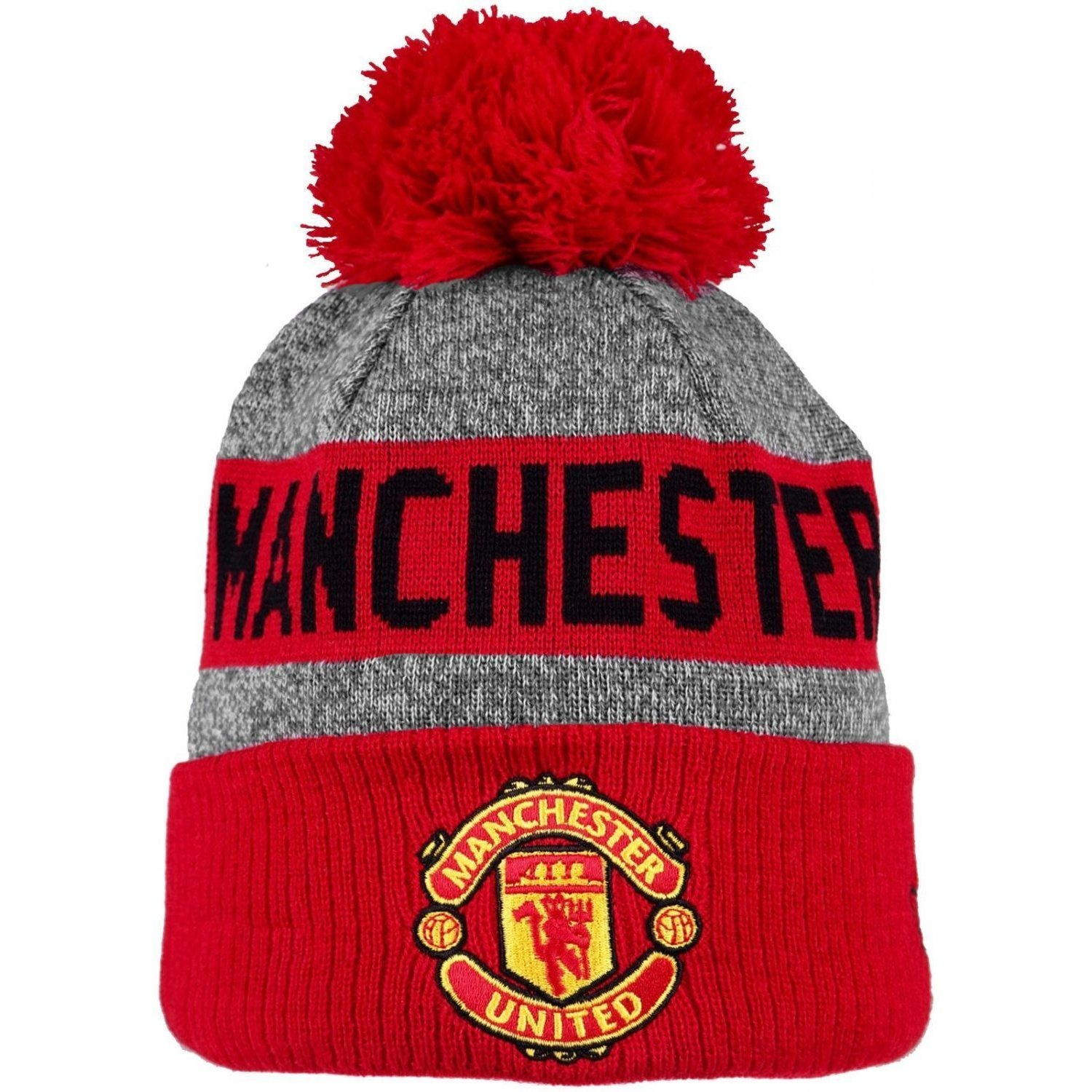 New Era Manchester United Fc Bobble Hat Marl Crown Grey Red