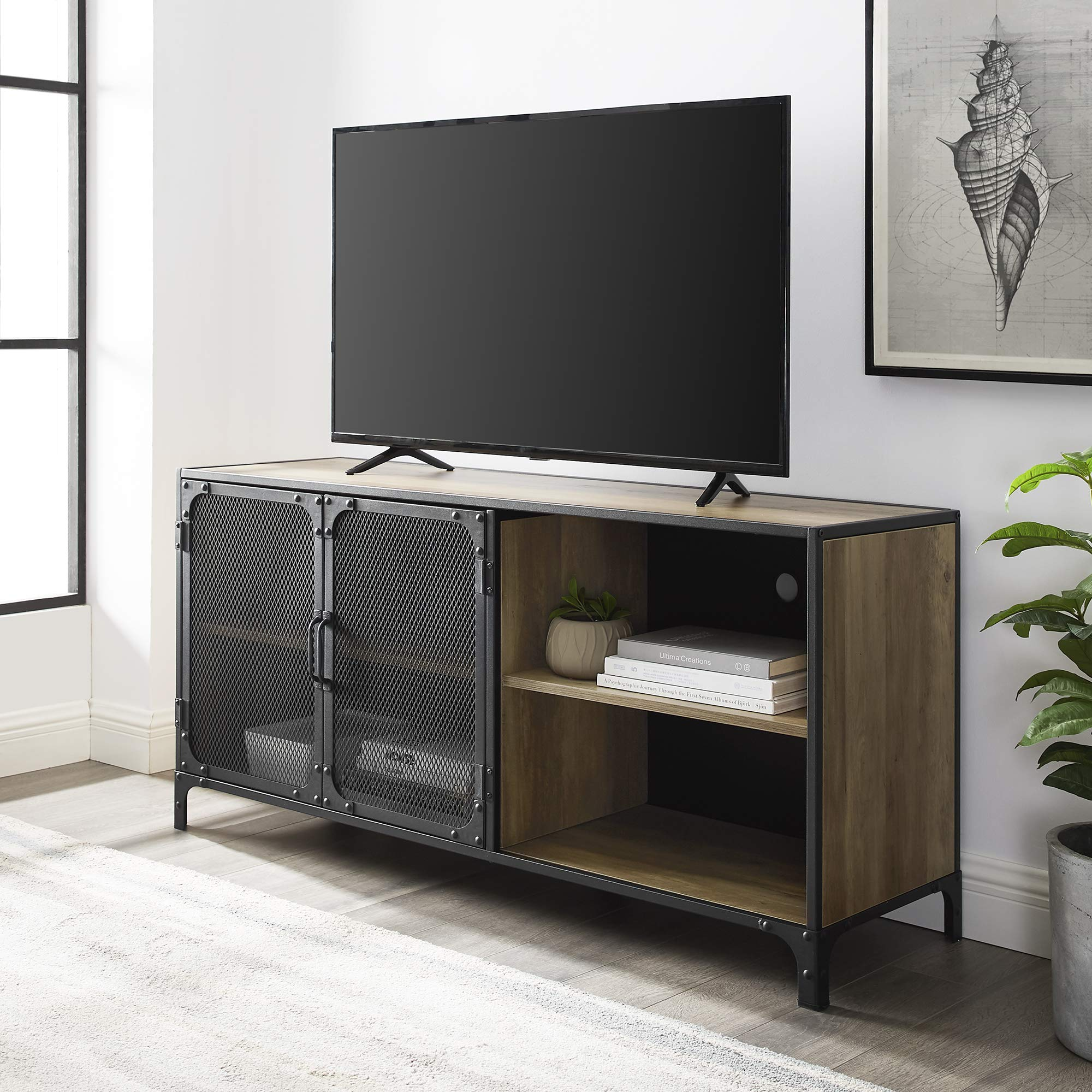 Walker Edison Maison Industrial Metal Mesh Door for TVs up to 58 Inches, 52 Inch, Reclaimed Barnwood