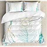 Ambesonne Peacock Duvet Cover Set, Aesthetic First Nations Feather and Peacock Tail Traditional Design Print, Decorative 3 Pi