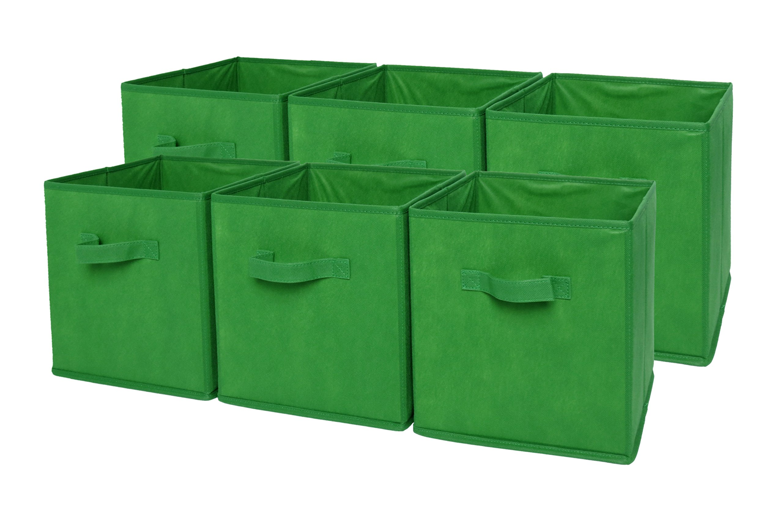 SodyneeFoldable Cloth Storage Cube Basket Bins Organizer Containers Drawers, 6 Pack, Green