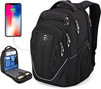 """Swissdigital Terabyte TSA-Friendly Water-Resistant Large Backpack, Business Laptop Backpack for Men with USB Charging Port/RFID Protection Big School Bookbag Fits up to 15.6"""" Travel Laptop Backpack"""