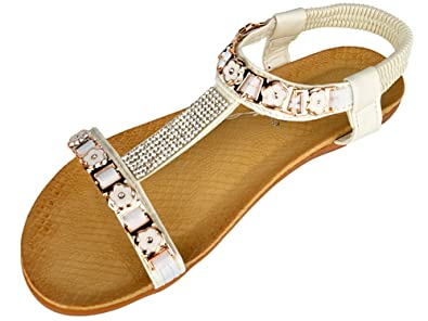 96463d1cca2b Libra Pop Women s Jewel Flower T-Bar Flat Comfort Fit Cushioned Sandals  White 39
