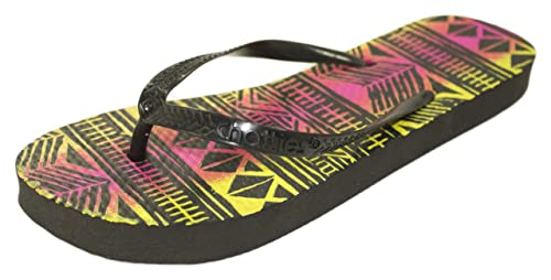 4fe8bbc6dc5c08 Chatties Neon Tribal Print Flip Flop Sandals (5 6