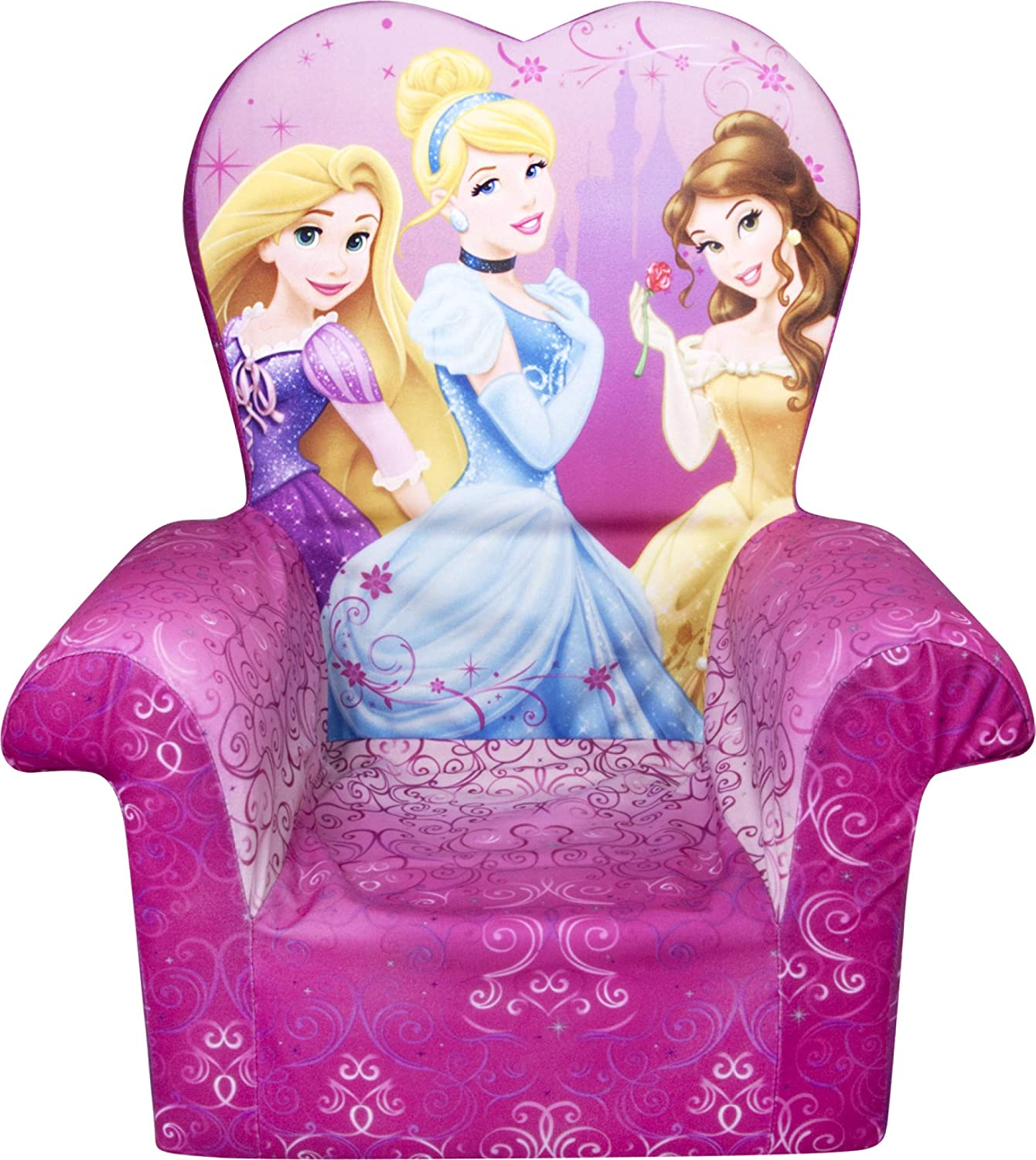 Marshmallow Furniture Children's Toddler Foam High Back Chair for Ages 18 Months and Up, Disney Princesses