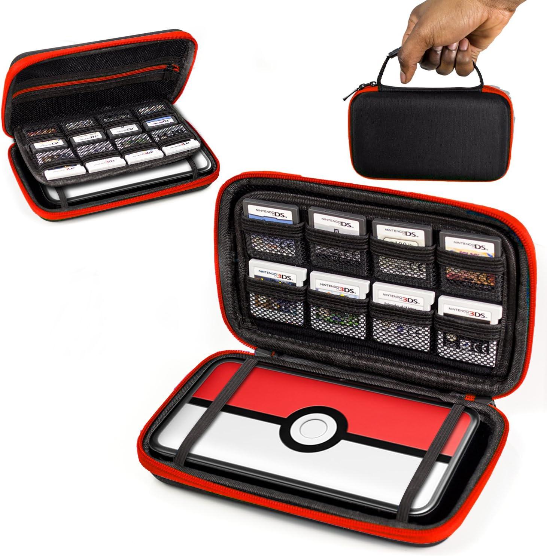 Orzly Funda 2DSXL, Transportar New 2DS XL - Funda Dura de Viaje para Llevar la Nueva Consola Nintendo 2DS XL con Ranuras para Juegos y Bolsillo con Cremallera – Rojo sobre Negro