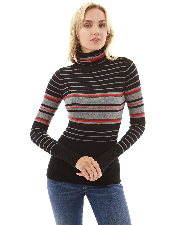 PattyBoutik Women's Polo Neck Striped Jumper