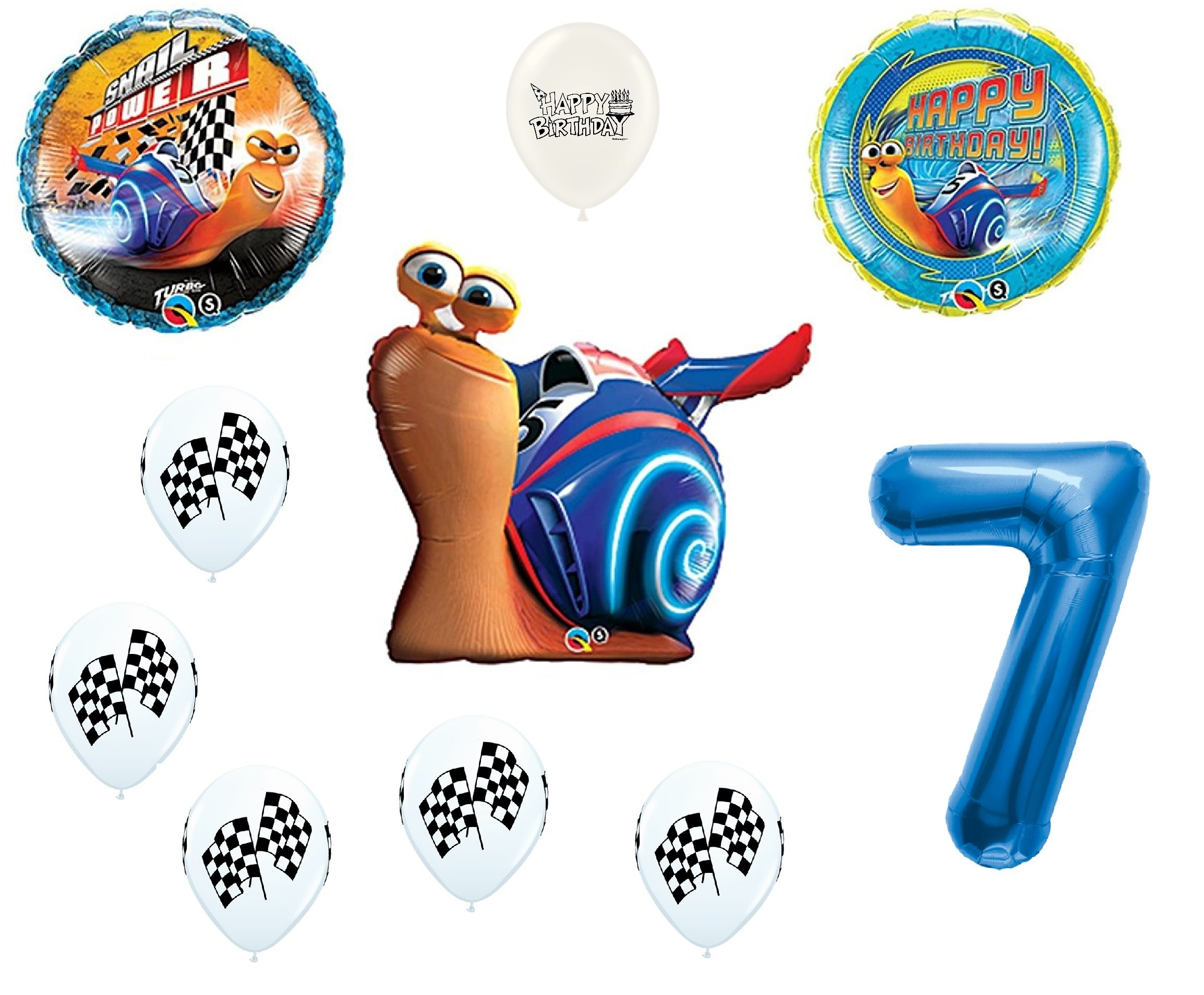 Turbo the Movie Birthday Balloon Bouquet Bundle with Blue Number option 1-9 (7th Birthday)