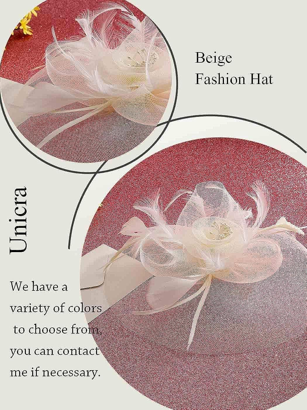 Unicra Fascinators Hat Pillbox Pince /à Cheveux Bowler Plume Fleur F/ête de Mariage et Chapeau en /épingle /à th/é pour Les Femmes et Les Filles