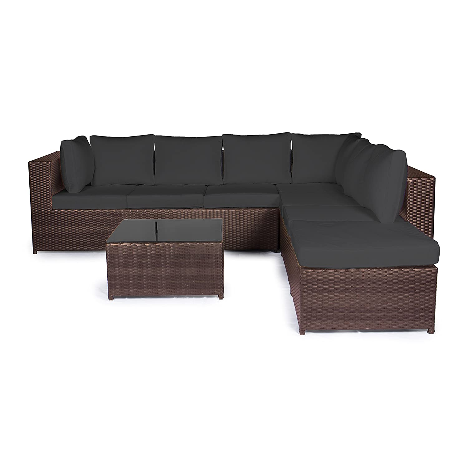 vanage gartenm bel set xxxl montreal in braun schwarz sch ne rattan gartengarnitur. Black Bedroom Furniture Sets. Home Design Ideas
