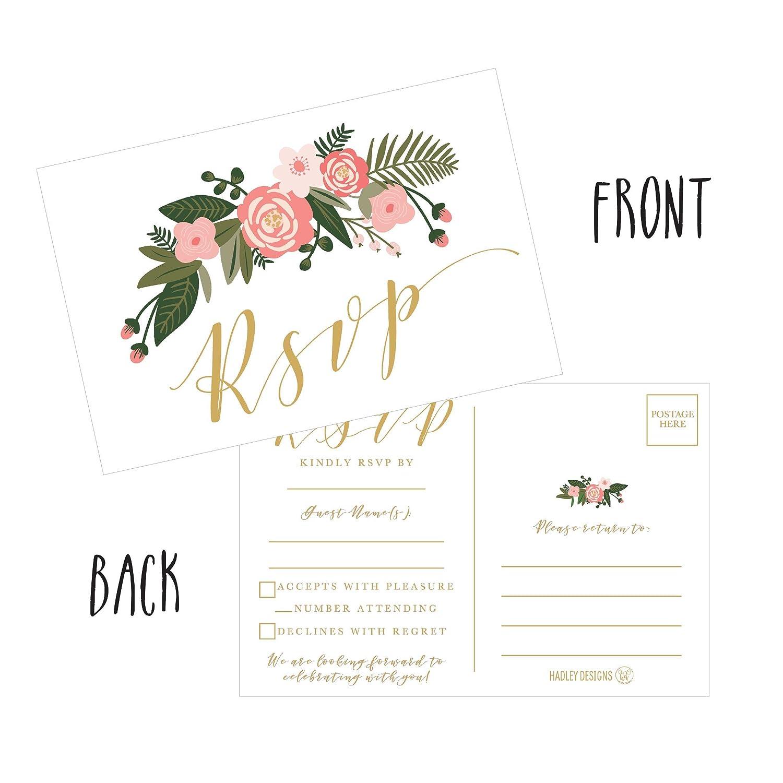 Amazon 50 Blank Gold Floral Rsvp Cards Rsvp Postcards No