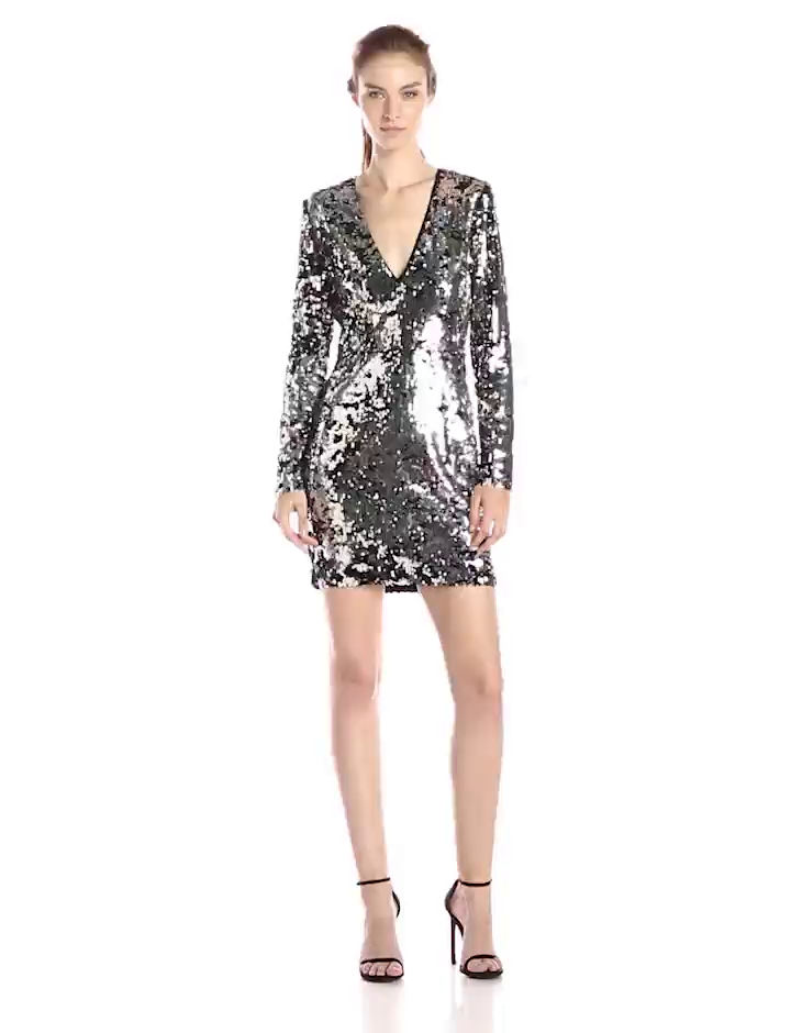 Amazon.com: Rachel Zoe Womens Muse Sequin V-Neck Dress, Silver/Black, 0: Clothing