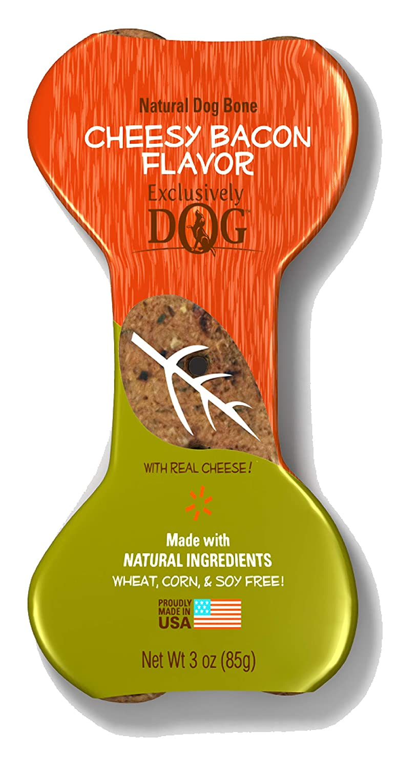 Exclusively Dog Cheesy Bacon Flavor Dog Bone, 3-Ounce