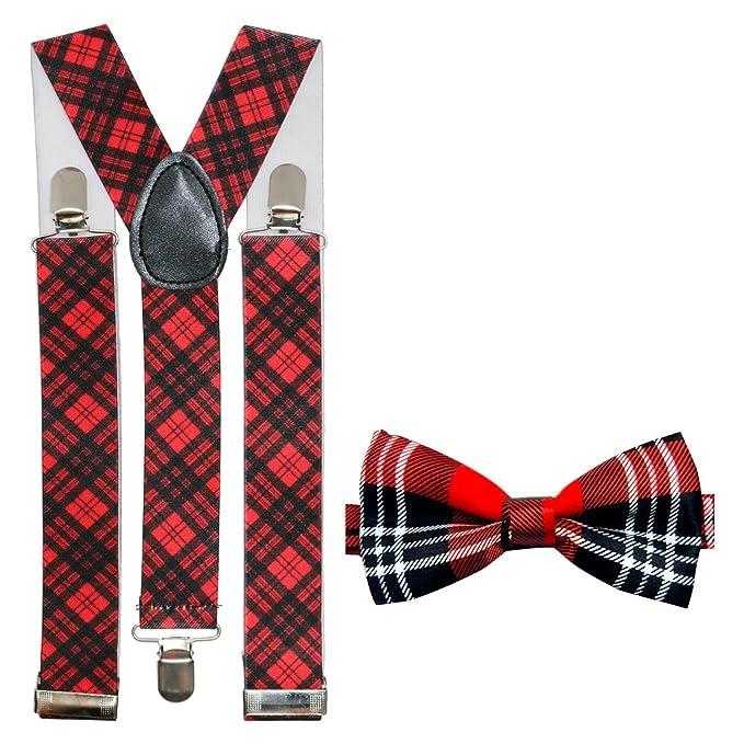 Red Tartan Bow Tie On Elastic Fancy Dress Scottish Plaid