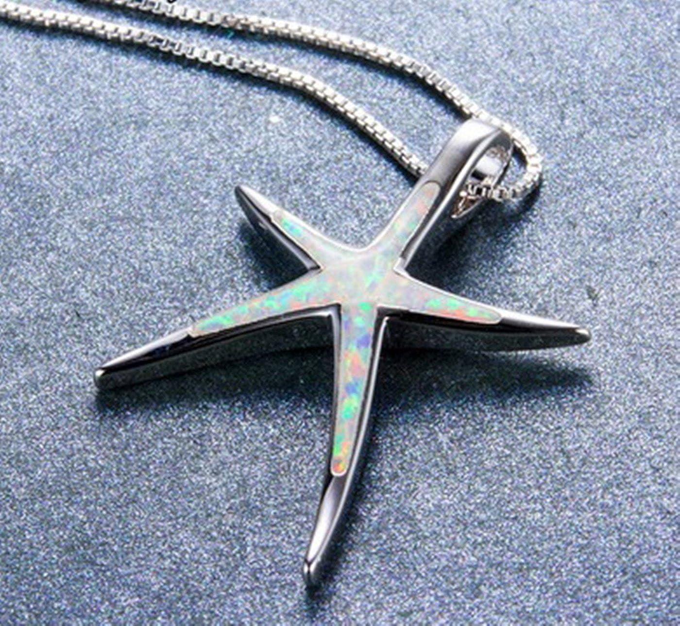 Fortonatori Created White Opal Starfish Necklace 925 Silver Pendant Necklace 18 Chain