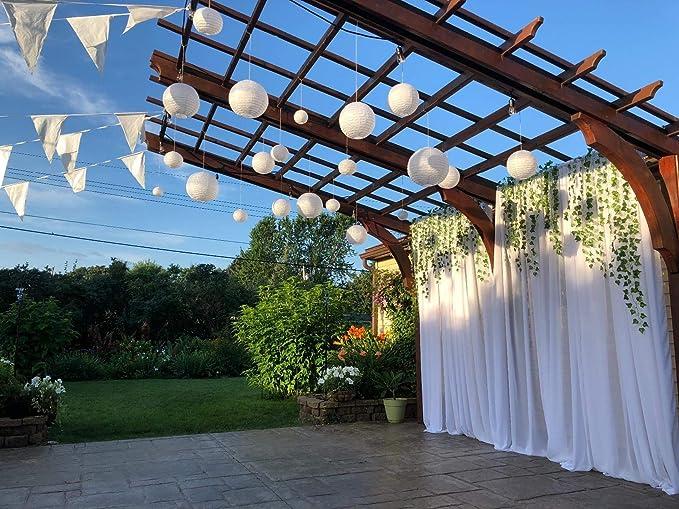 sonnis 20 pcs 5 talla color blanco papel faroles redonda lámparas ...