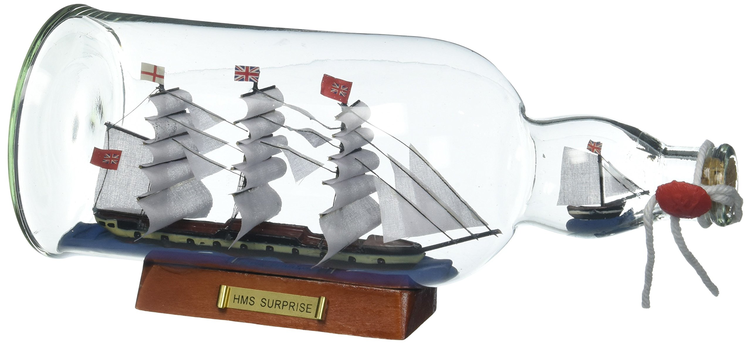 Hampton Nautical Master And Commander HMS Surprise Model Ship in a Glass Bottle, 11'' by Hampton Nautical