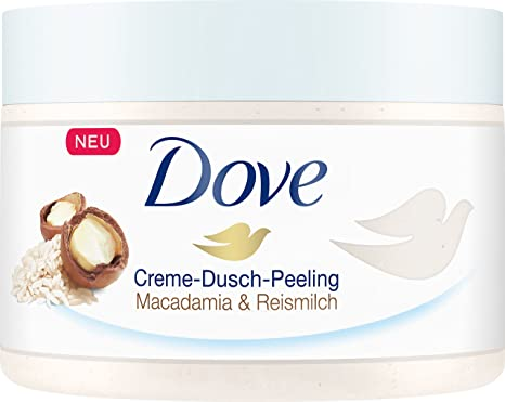 Dove Crema de ducha exfoliante de macadamia & Arroz Leche, 4 unidades (4 x