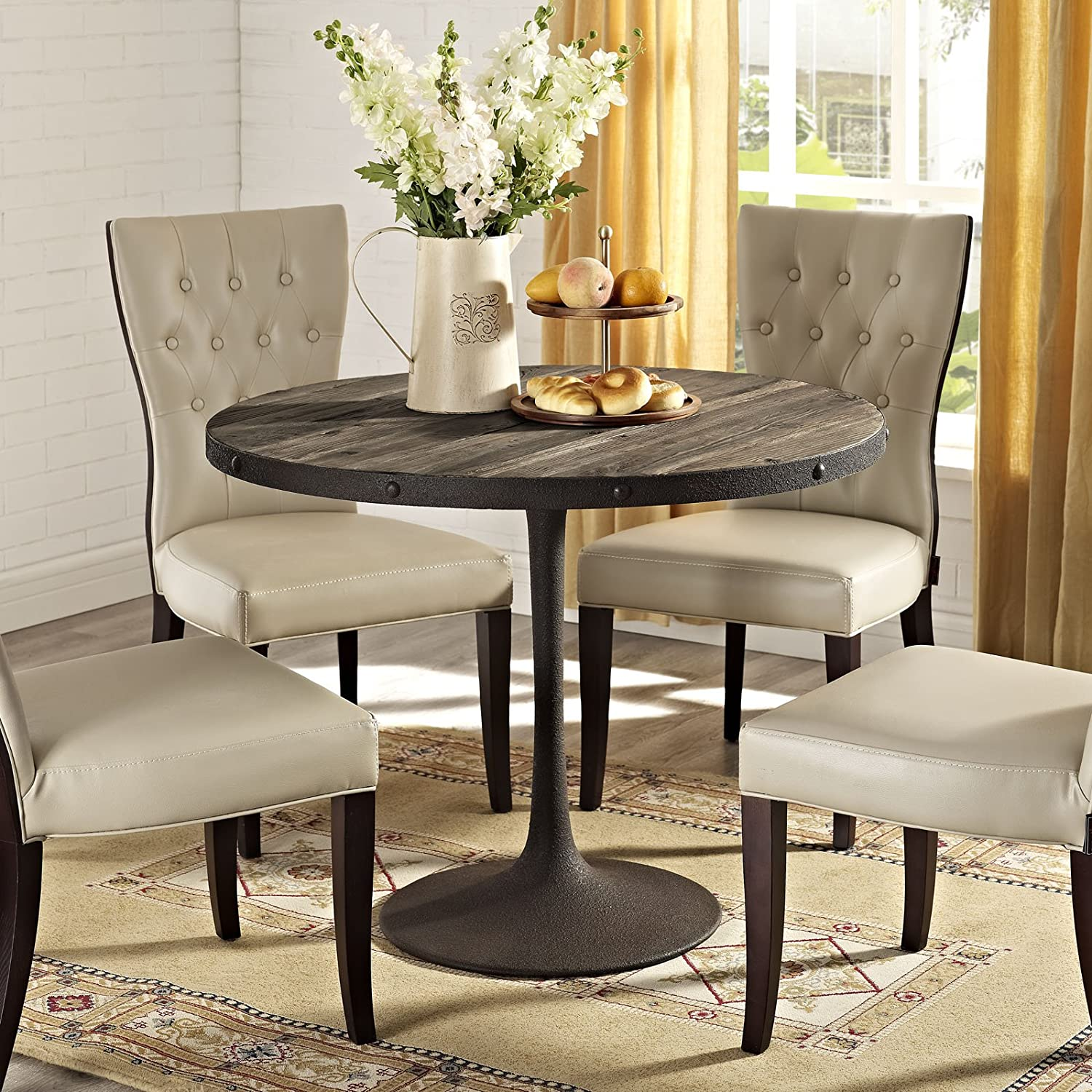 modway drive wood top dining table in brown kitchen