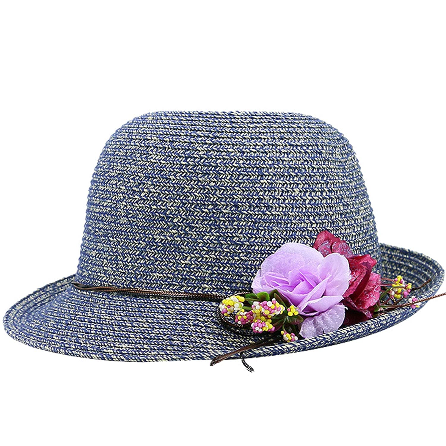 Sunshade Straw Hat Color Flowers Sunscreen Big Edge Hat Sun Hat Beach Hat Tide
