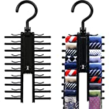 2 PCS Cross X Hangers,IPOW Black Tie Belt Rack Organizer Hanger Non-Slip Clips Holder With 360 Degree Rotation,Securely up to 20 Ties