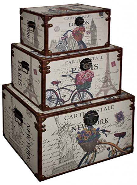 Set Of 3 Vintage Style LONDON PARIS NEW YORK Theme Storage Trunks/Chests