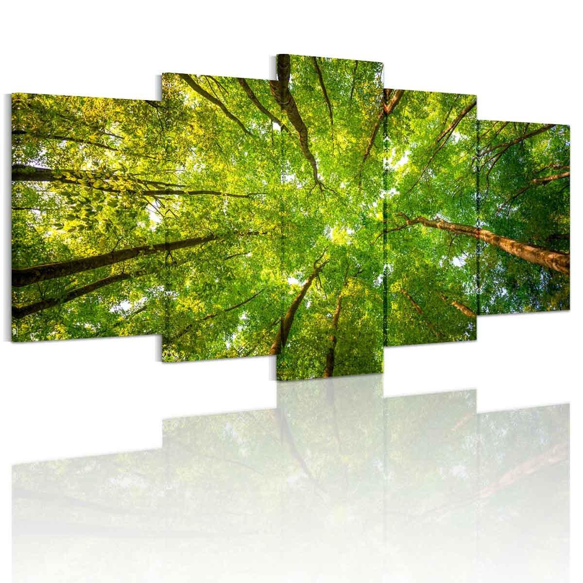 【金運上昇】アートパネル 緑の森 希望の光 絵画 壁飾りインテリアアート 壁アート キャンバス絵画 壁掛け 完成品 5枚セット すぐ飾る! B06WGR9ZV7