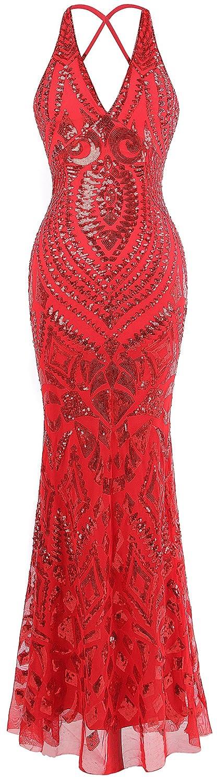 Angel-fashions Women's Halter Pattern Sequin V Neck Sheath Long Evening Dress A-381BK
