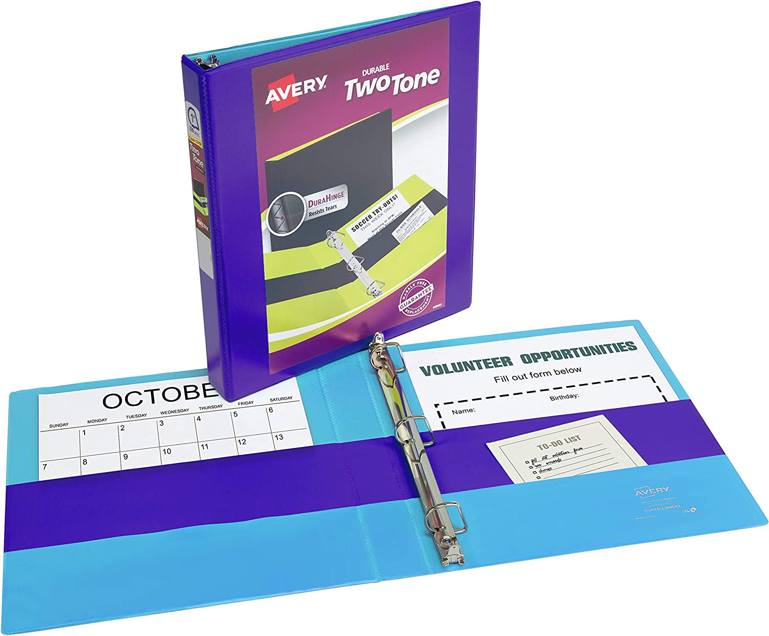 """Avery Two-Tone Durable View Binder, 1"""" Slant Rings, 220-Sheet Capacity, Fuchsia/Green (17196) : Office Products"""