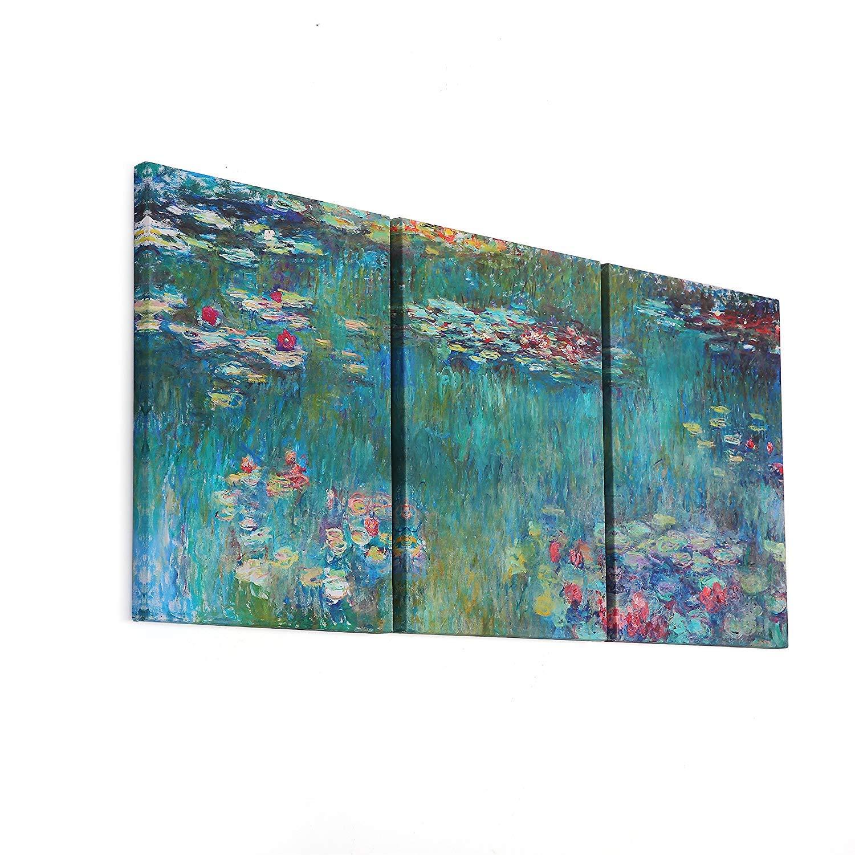 Fajerminart 3 Panel Gemälde Claude Monet Ölgemälde Replik Seerosen Drucke auf Leinwand Monet Poster Wandkunst, Malerei Kunst Geeignet Wohnzimmer, Gesamtgröße (50cmx70cmx3 Panel) (Holzrahmen)