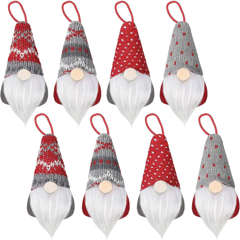 8 Pieces Gnome Christmas Ornaments Christmas Tree Hanging Gnomes Decoration Handmade Scandinavian Santa Elf Table Ornaments Gnome Christmas Plush Decoration for Christmas Tree Fireplace Home Decor