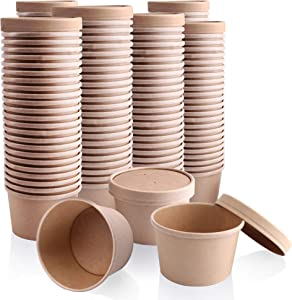 [250 Pack] 12 oz Kraft Compostable Paper Food Cup with Vented Lid - Brown Rolled Rim Storage Bucket, Hot or Cold Dish To Go Packaging, Ramen Soup Stews Salad Frozen Dessert Yogurt Ice Cream Container
