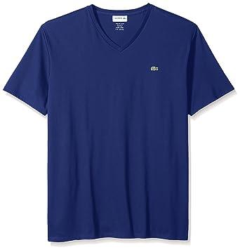 3de88112155e Amazon.com: Lacoste Men's Short Sleeve V Neck Pima Jersey T-Shirt ...