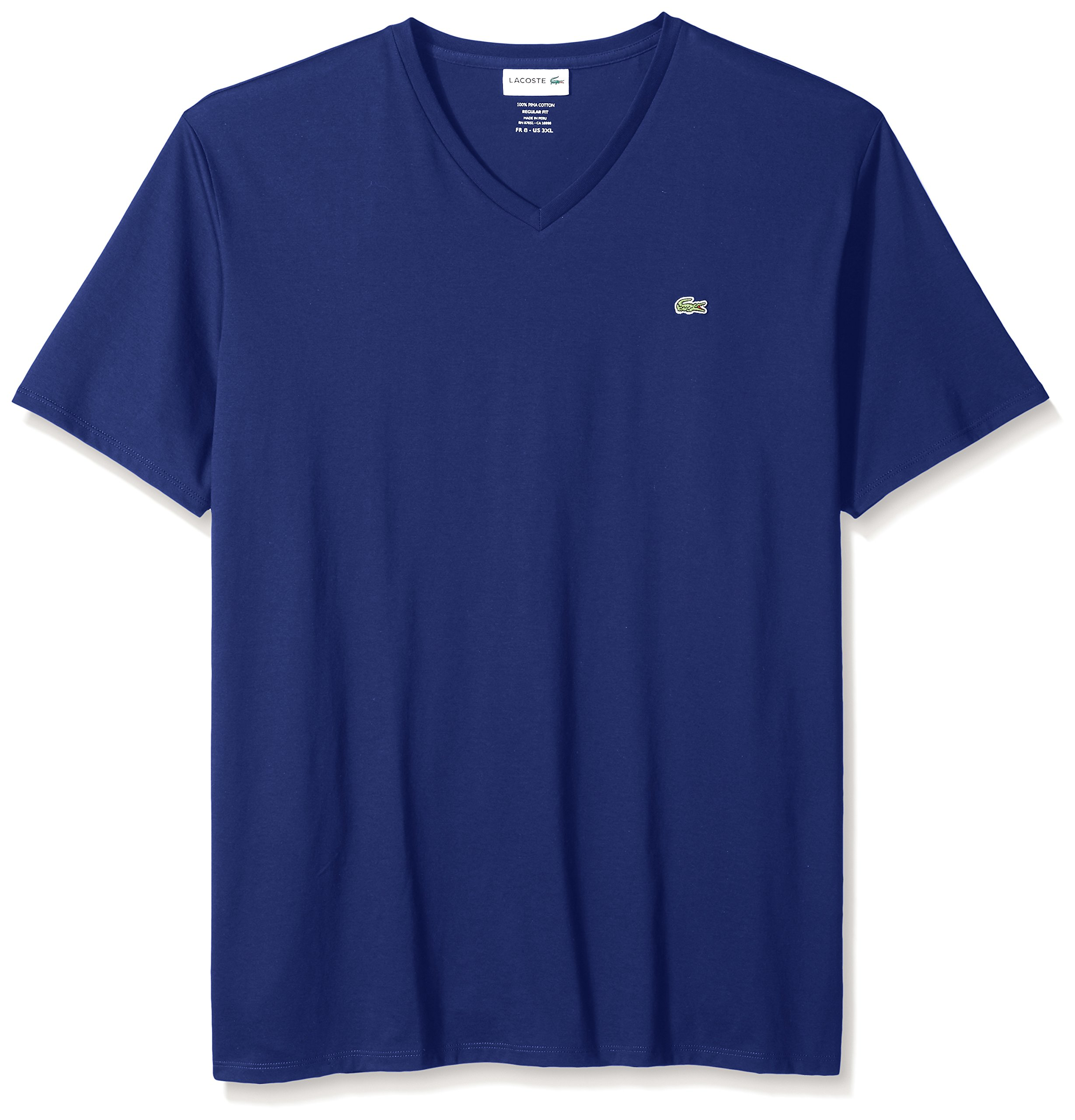 Lacoste Men's Short Sleeve V Neck Pima Jersey T-Shirt, Ocean, XX-Large