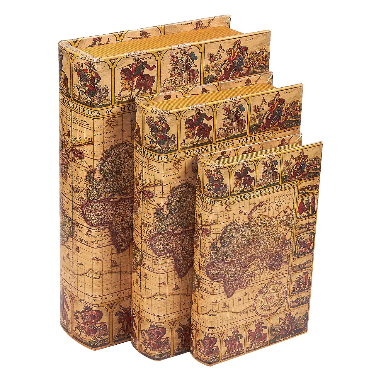 Juvale 3 Piece Book Box Set - Decorative Book Storage Box Money, Jewelry, Antique Map Design, 3 Different Sizes, 8, 10, 12 inches by Juvale