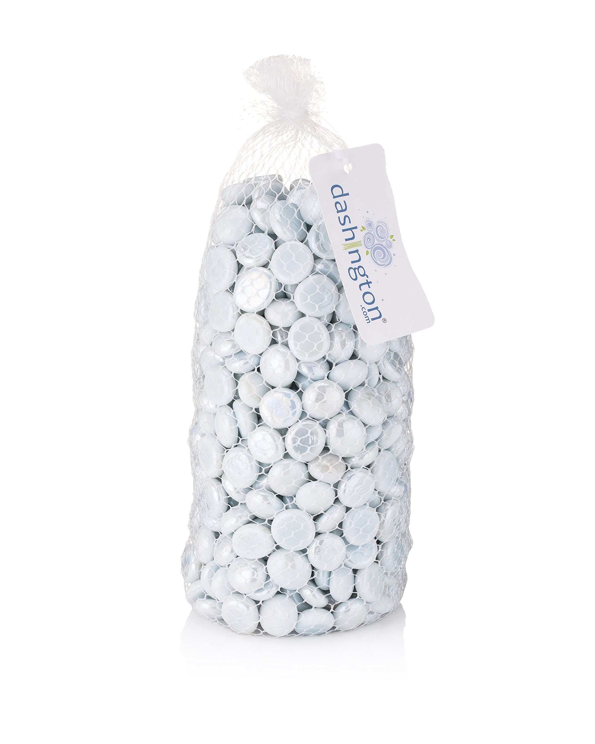 Dashington Flat Solid White Marbles (5 Pound Bag/80oz), Pebbles for Vase Filler, Table Scatter, Aquarium Decor, Gems