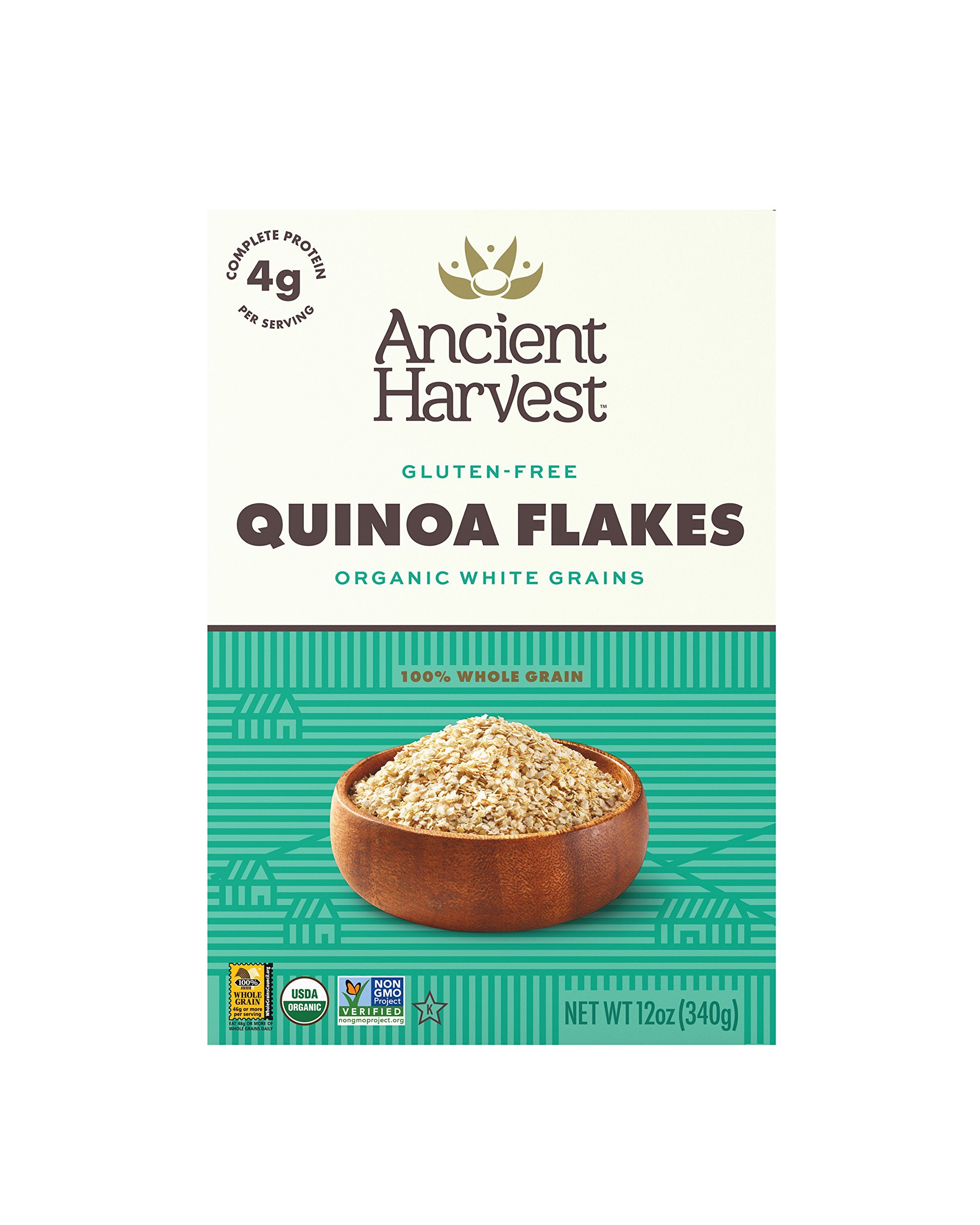 Ancient Harvest Organic Gluten-Free 100% Whole Grain Quinoa Flakes, 12 oz Box (Pack of 6), A Natural Substitution to Oatmeal or Wheat-Based Cereals