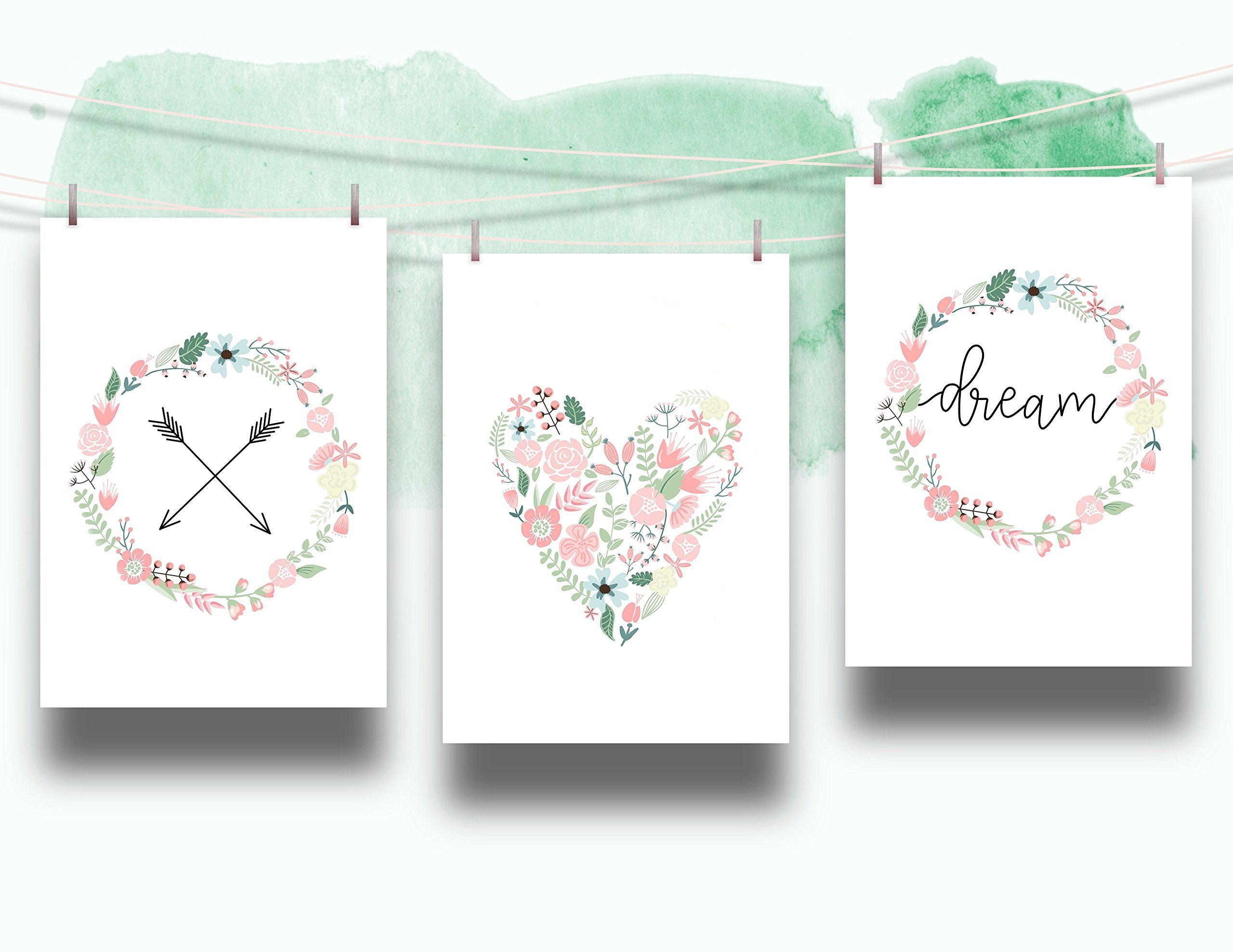 Set of 3 Floral Dream Nursery Cardstock Prints - 8.5 x11'' Arrow, Heart and Pastel Floral Wreath Dream