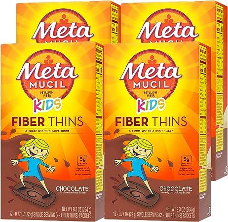 Metamucil KIDS Fiber Thins, Psyllium Husk Fiber Supplement, Digestive Health Support, Chocolate Flavored, 12 Servings (Pack of 4)