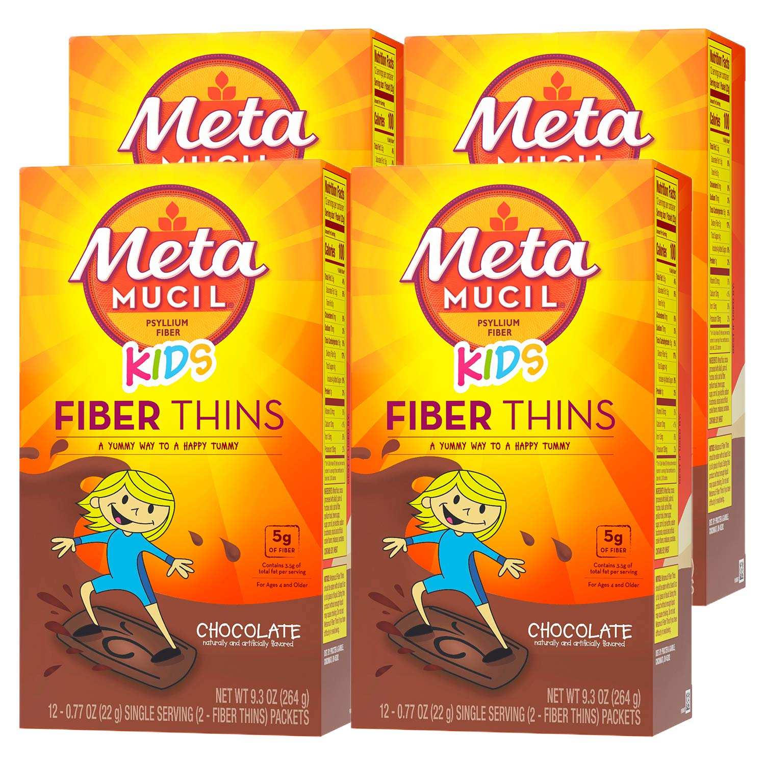 Metamucil Kids Fiber Thins, Chocolate Flavored Dietary Fiber Supplement Snack